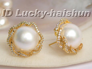 Genuine 19mm South Sea white Mabe Pearls Earrings 925sc j5634