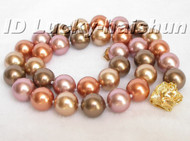 AAA 12mm round Multicolor south sea shell pearls necklace j5455
