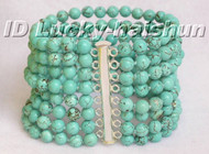 Genuine 8row natural round turquoise bead bracelet 925sc clasp j5449