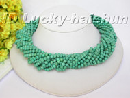 AAA 15Stds natural round turquoise necklace turquoise clasp j5278