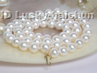 AAAA GENUINE AKOYA WHITE SEA WATER PEARL NECKLACE 14K GOLD j5070