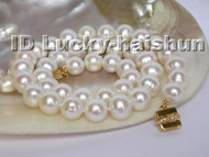 lustrous 11mm round white freshwater pearl necklace 9K clasp j4951