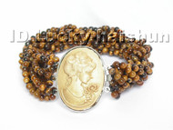 AAA 10Stds 100% natural baroque Tiger's eyes bracelet cameo clasp j4933