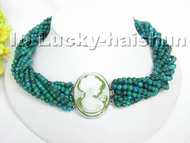 AAA 10Stds 100% natural green Chrysocolla necklace cameo clasp j4876