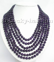 Genuine 6row 100% natural round amethyst bead necklace 925sc j4785