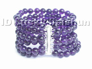 "8"" 8mm 6row 100% natural round amethyst bead Bracelet 925sc j4784"