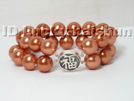 AAA 12mm 2row round coffee south sea shell pearls Bracelet 925sc j4575
