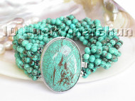 AAA 10Stds natural turquoise bead Bracelet j4564