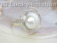 AAA natural South Sea white Mabe Pearls Rings 925sc j4281