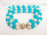"Genuine 8"" 3row round white FW pearl pikn jade bracelet 9K j4179"