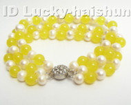 Genuine 3row round white FW pearl jade bracelet j4175