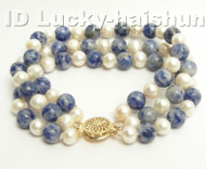 Genuine 3row round white FW pearl jade bracelet 9K j4174