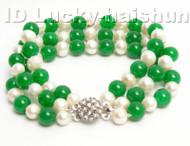 Genuine 3row round white FW pearl green jade bracelet 9K j4173
