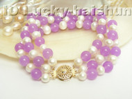 Genuine 3row round white FW pearl jade bracelet 9K j4170