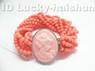 AAA 10Stds 100% natural pink coral bracelet cameo clasp j4115