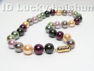 Genuine 12mm round multicolor sea shell pearls necklace 9K j4099