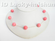 14K Gold Chain With 100% natural pink coral necklace j4085