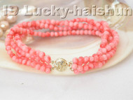 Authentic natural 4row pink coral bracelet 9K j4072