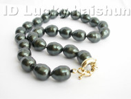baroque Tahitian black south sea shell pearls necklace j3910