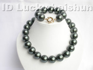 "18"" 20mm Tahitian black south sea shell pearls necklace bracelet set j3829"