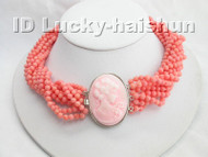 AAA 10Stds 100% natural pink coral necklace cameo clasp j3748
