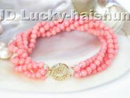 Genuine! 4row round pink coral Bracelet j3718