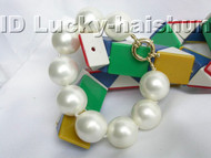 "8"" 20mm round white south sea shell pearls Bracelet j3418"