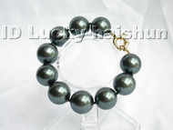 20mm Tahitian black south sea shell pearl Bracelet j3286