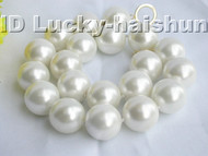 "18"" 20mm round white south sea shell pearls necklace j3280"