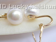 AAA 11mm white freshwater pearls clip earrings 14K j3244