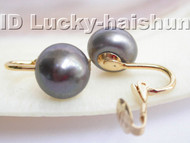 AAA 11mm round black freshwater pearls clip earrings 14K j3243