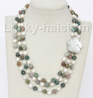 "17"" 8mm 3row round white pearls Multicolor jade necklace j10323"