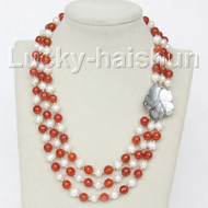 "17"" 8mm 3row round white pearls red agate necklace j10325"