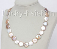 "luster 17"" 15mm coin fastener Multicolor pearls necklace j10343"