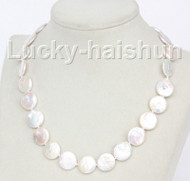 "luster 17"" 15mm coin fastener white freshwater pearls necklace j10345"