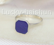 AAA 100% 10MM NATURAL SQUARE LAPIS LAZULI RING STUD 925SS 7# J10376