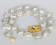 18mmX19mm Baroque white Reborn Keshi pearls necklace dragon clasp j10399