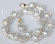 Genuine 28mm baroque white Reborn keshi pearl necklace j10407