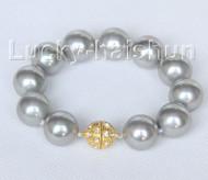 "8"" 16mm round gray seashell pearls Bracelet magnet clasp j10414"