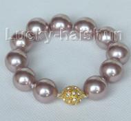 "8"" 16mm round purple seashell pearls Bracelet magnet clasp j10418"