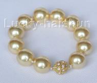 "8"" 16mm round golden seashell pearls Bracelet magnet clasp j10419"