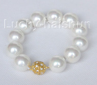 "8"" 16mm round light white seashell pearls Bracelet magnet clasp j10422"