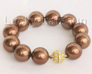"8"" 16mm round coffee south sea shell pearls Bracelet magnet clasp j10442"