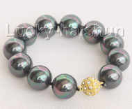 """8"""" 16mm round peacock black south sea shell pearls Bracelet magnet clasp j10443"""