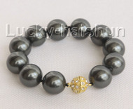 """8"""" 16mm round black south sea shell pearls Bracelet magnet clasp j10444"""