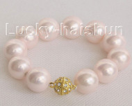 """8"""" 16mm round pink south sea shell pearls Bracelet magnet clasp j10445"""