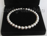 "NATURAL 17"" 15MM ROUND WHITE SOUTH SEA PEARL NECKLACE j10446"