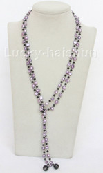 """Baroque 52"""" 8mm lavender freshwater pearls necklace j10448"""