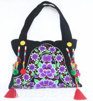 "17X12"" black felpa embroider purple flower handbag bag purses T893A110"