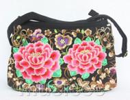 "13X9"" black Denim embroider flower handbag bag purses T892A110"